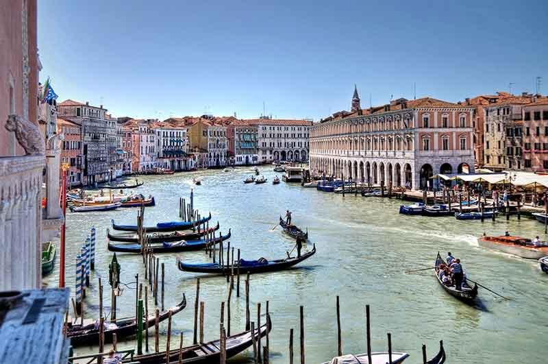 Venice -  a city sited on a group of 118 small islands separated by canals and linked by bridges