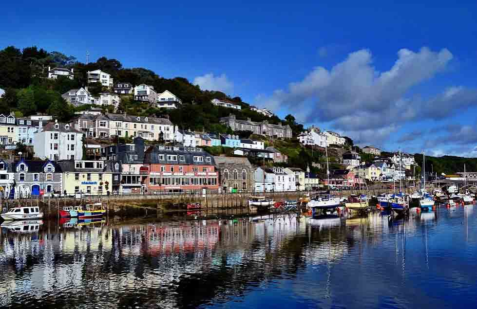 Visit Looe, a collection of narrow streets lined with shops cafes and pubs