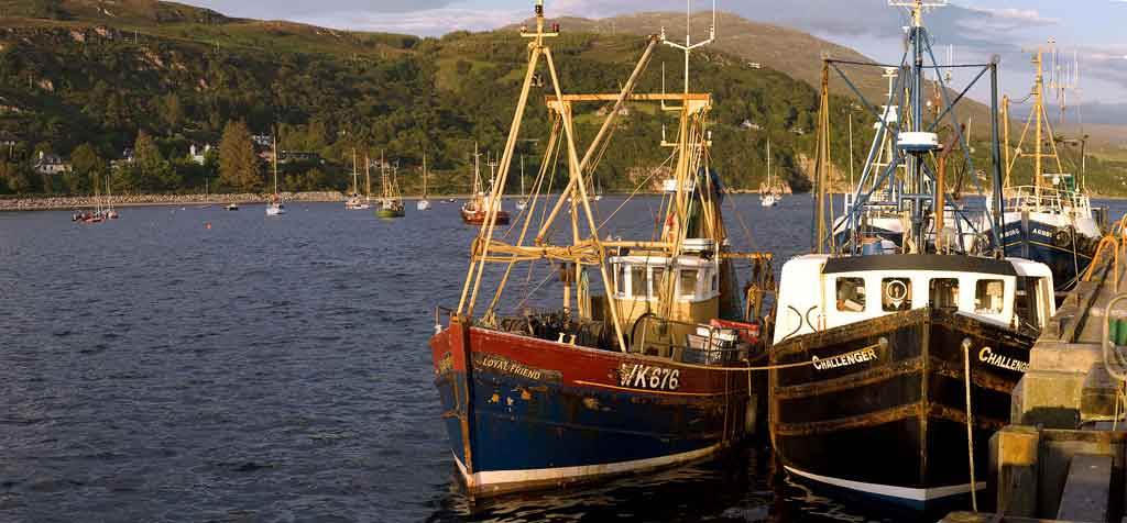 The picturesque fishing town of Ullapool, nestled on the shores of Lochbroom.