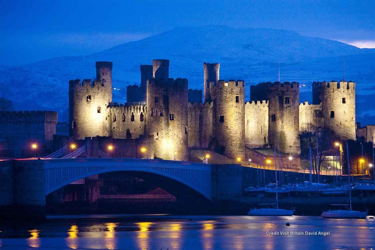 Visit the gritty, dark-stoned Conwy with its medieval atmosphere