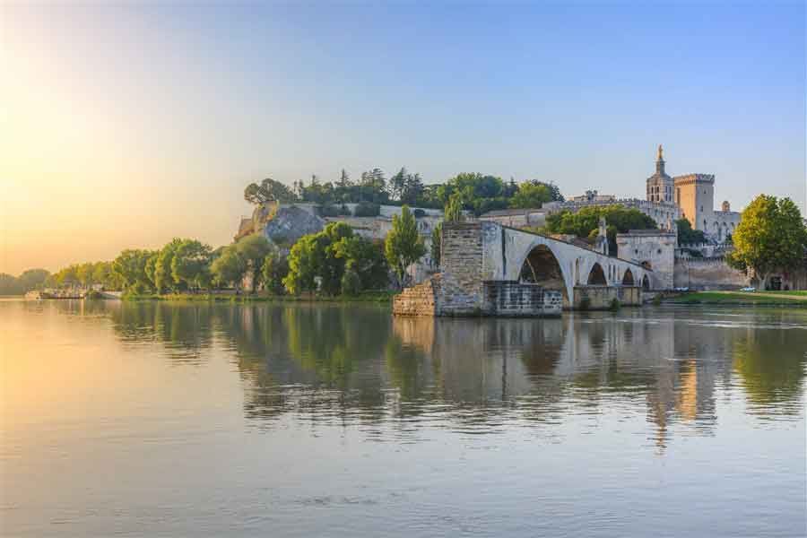 Provence and the walled city of Avignon before arriving Lyon