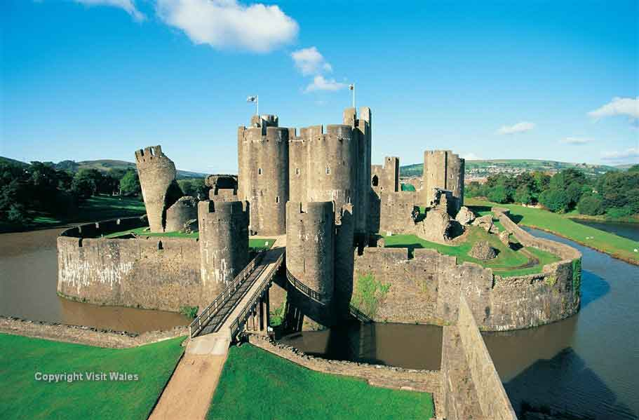 See Caerphilly castle, the largest medieval castle in Britain after Windsor
