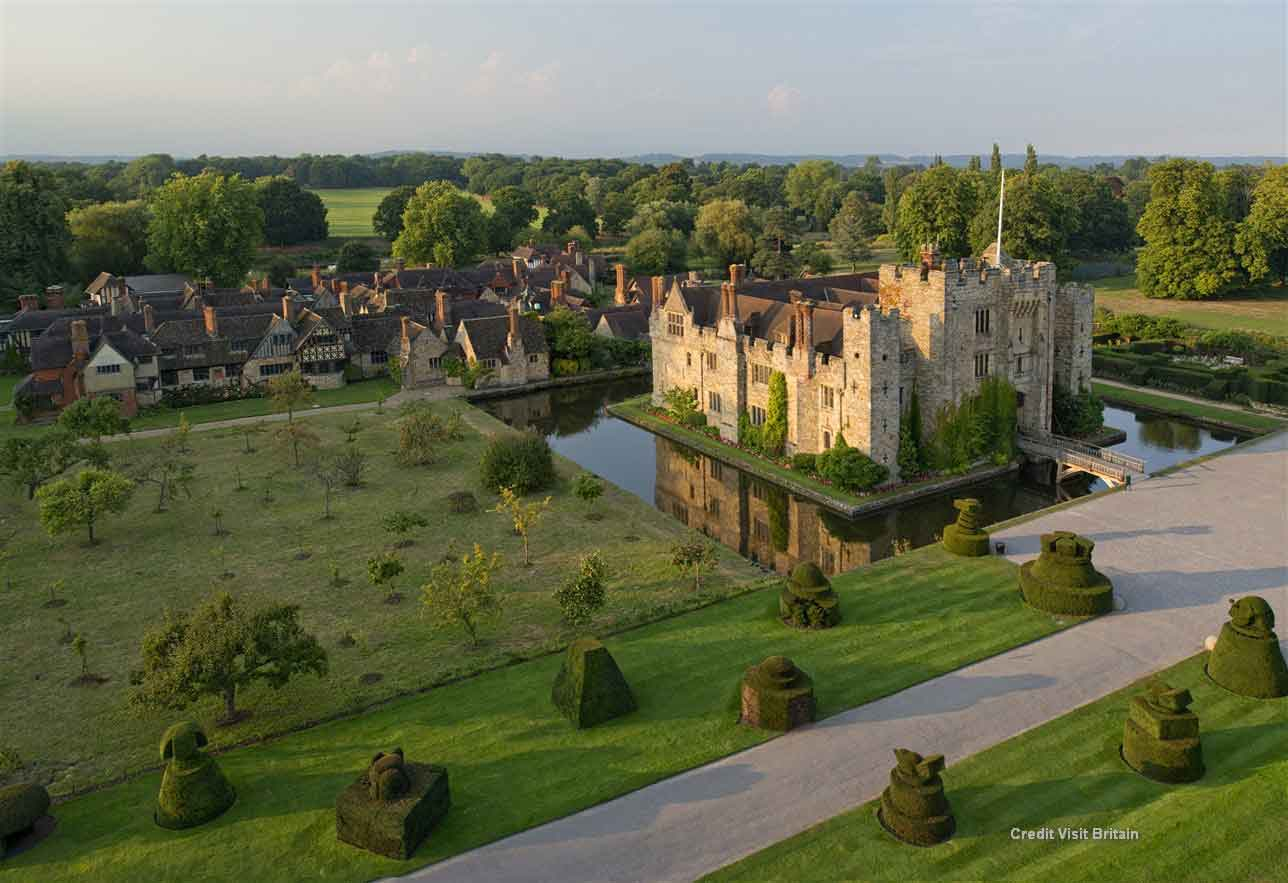 Marvel Hever Castle, a romantic, moated 13th century castle