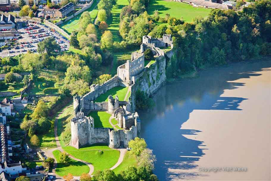 Visit Cheptsow Castle placed on a narrow cliff top edge
