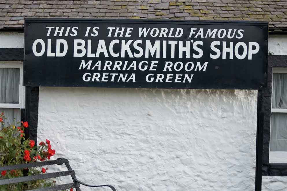 stop off at Gretna Green famous for runaway weddings