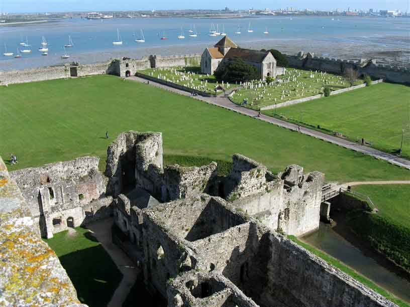 Admire Portchester Castle,  the most impressive and best-preserved of the Roman 'Saxon Shore' forts