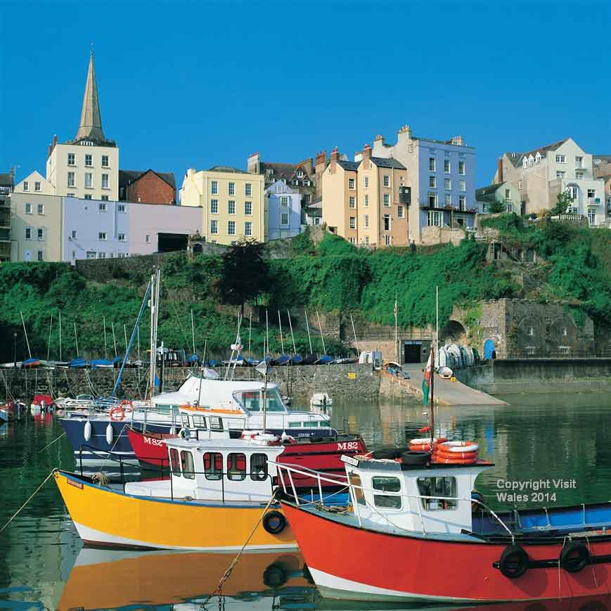 Marvel at the fortified town of Tenby, with its 13th-century stone walls