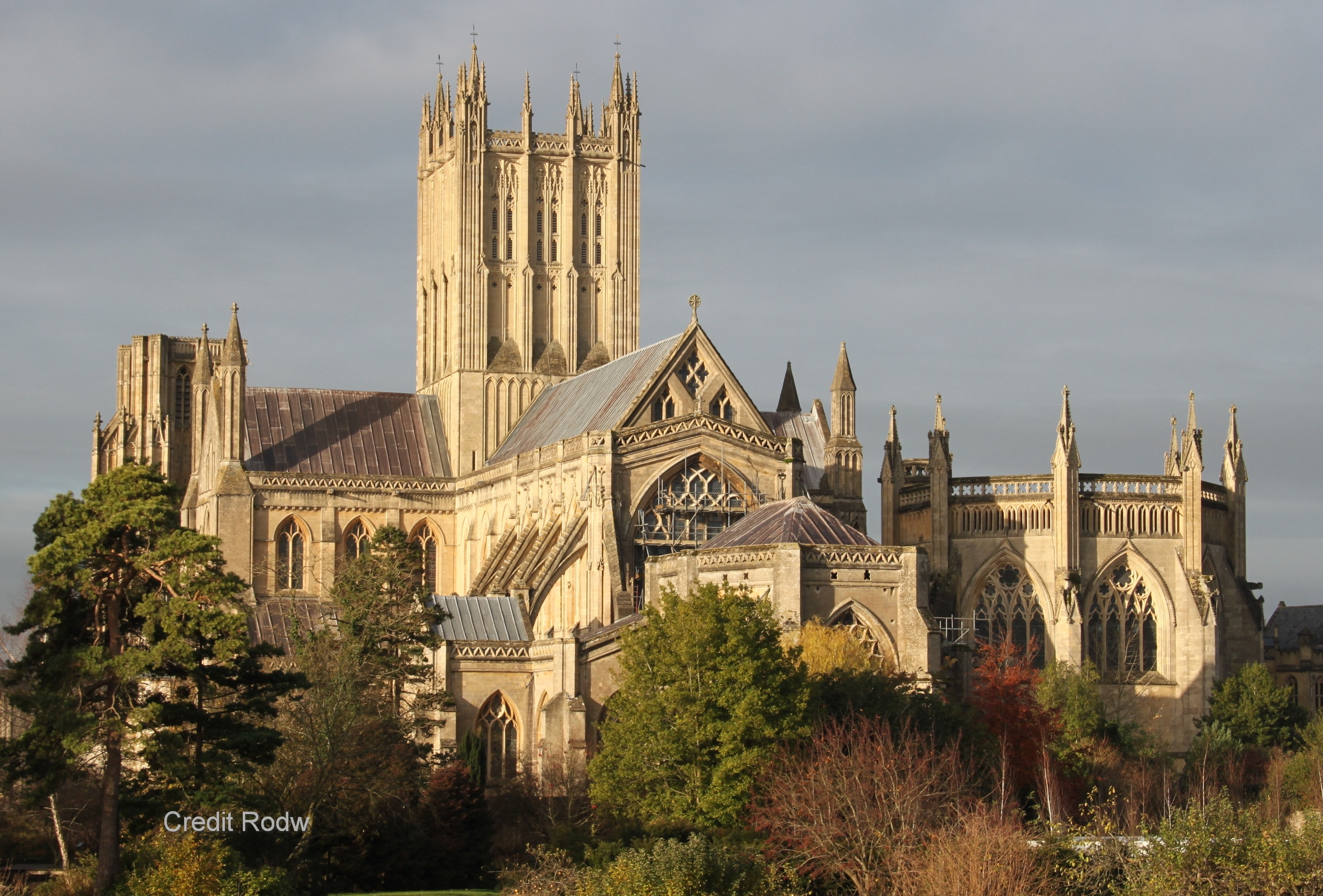 See Wells Cathedral, fine example of Early Gothic architecture