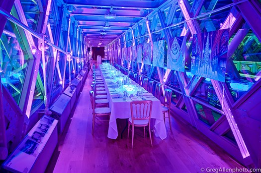 Tower Bridge Dining offering breathtaking panoramic views of London with a glass floor enabling guests to enjoy London life beneath their feet from a unique viewpoint.