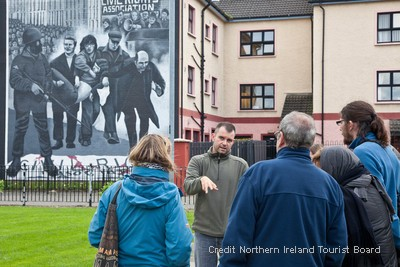 View the iconic political Bogside Murals which depict the civil rights era of the 1960s, the early troubles era of the 1970's and the events of Bloody Sunday in 1972