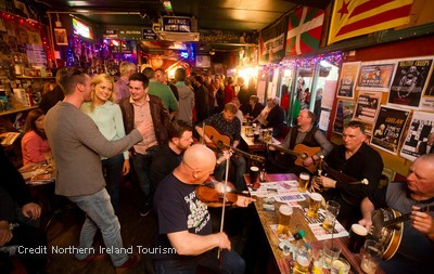Sample some of Belfast's best traditional bars with its famous collection of whiskeys or a pint of Guinness