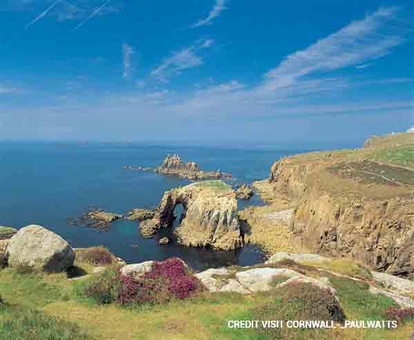 Travel to Land's End, one of Britain's most magnificent landmarks offering stunning scenery